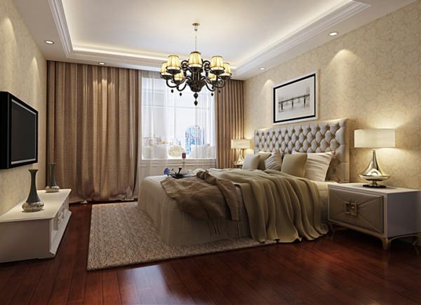 次卧依然与整体空间协调,简单地吊顶在柔和的灯光照射下层次分明,明朗的空间依旧不失优雅。亮点:简单地装饰,淡色的优雅,一个让人安静休憩的场所。