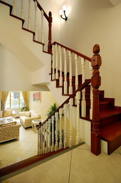 【成都实创装饰】—整体家装—现代欧式风格装修参考—复式楼盘装修—楼梯装修效果图