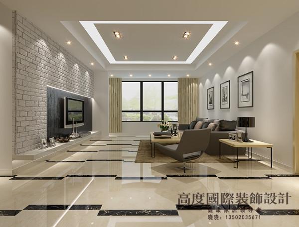 客厅吊顶采用阶级吊顶,最主要的是电视背景墙的造型,这是一个亮点。包括整个空间的地砖选用交错的额铺法,给人视觉冲击。