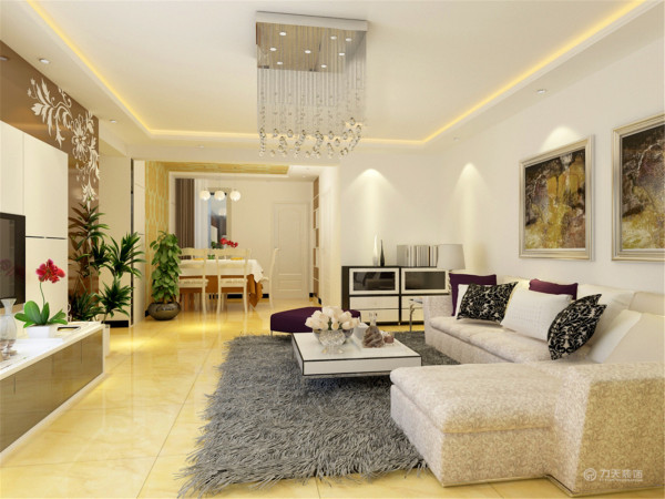 装修主要以白色乳胶漆、地砖为主,影视墙为墙砖与茶色镜面结合,配合暖色射灯,明快简洁,有层次感。