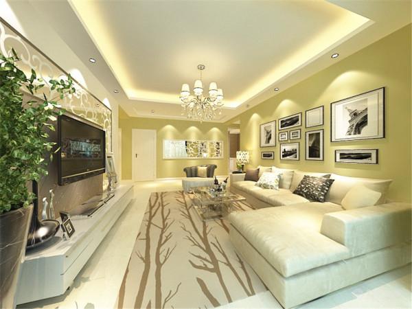 客厅电视背景墙采用石膏板加花镜做造型,中间贴壁纸。