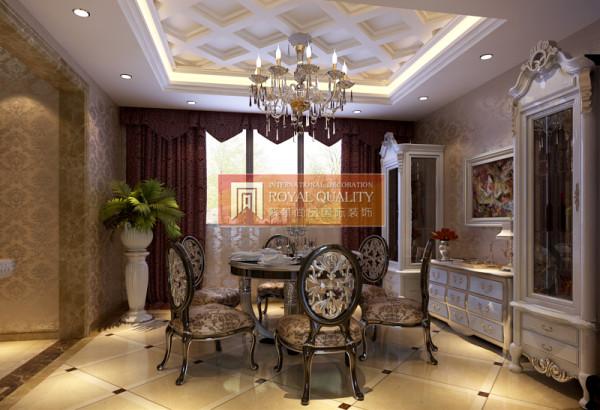餐厅的设计:精致的水晶灯,加上线条考究的餐桌椅,让整个餐厅透露出一种淡淡的奢华感。