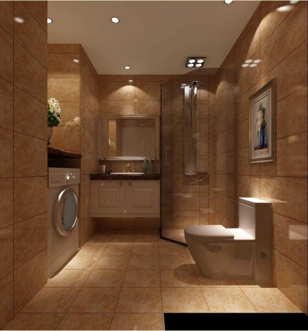 卫生间部分墙面和地面同样的采用浅非网仿石材砖通铺,顶面采用最新颖的防水石膏板吊顶,与地面相结合,给人一种舒适、明亮的感觉.