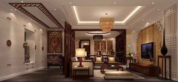 设计师以现代的装饰手法和家具,结合古典中式的装饰元素,来呈现亦古亦今的空间氛围。影视墙的造型简洁现代,却在醒目位置饰以中式书法,这种绝妙的组合给人以强烈的视觉意志力,成为时尚与古典的柔媚结合。