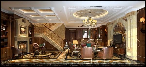 成都后花园别墅案例 美式风格 客厅设计图