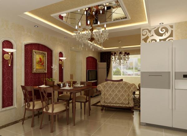 餐厅顶部吊顶将用餐区明确划分,用拼格镜子做内部点缀,映射位于其下方的餐桌,别样的个性化设计,增添一丝活跃气氛。餐厅的空间讲究对称且划分简单合理,与电视背景墙相呼应的墙壁设计