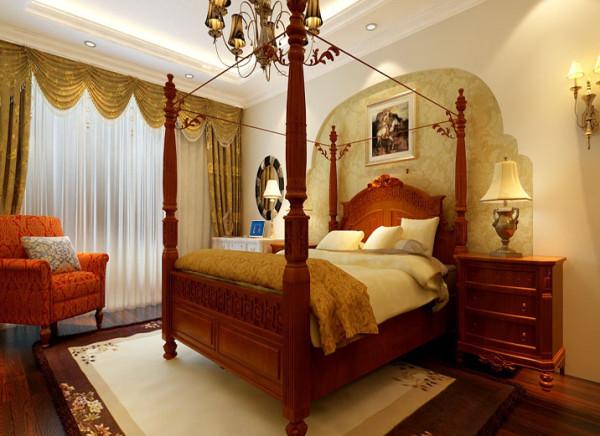 卧室静雅卧室,惬意生活设计理念:卧室是身心休息的港湾,不需要太华丽和复杂的装饰,本案以简单的二级顶让空间层次格外突出,让休息的港湾不在那么压抑。
