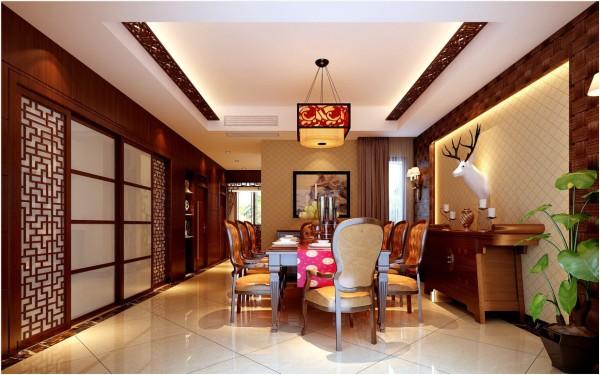 餐厅依旧保持着客厅的气息,木格栅修饰的吊顶、背景墙的豪放体现着现代人的不羁。