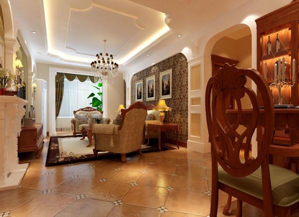:本案设计为欧式风格,背景墙统一为拱形设计,无纺布的墙纸配以欧式的布艺沙发,让空间不那么零乱,仿古的地砖拼花铺贴,让地面不那么方正,让整体空间回归自然的感觉。
