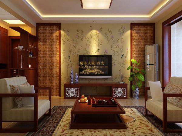 电视背景墙的设计体现的是对称的稳重感,偏暖色的马赛克拼砌用木质做包边,现代气息与古雅质感相结合。