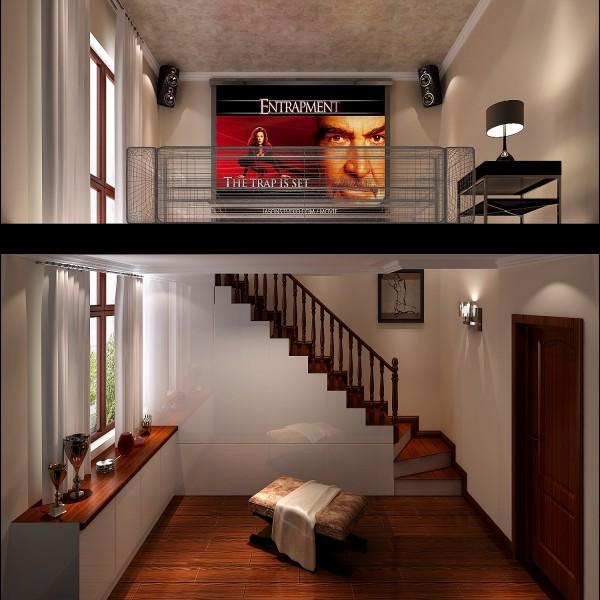 地面采用大理石砖与墙面壁纸相呼应,达到一种温馨舒适的视觉效果,沙发电视背景墙后面采用新颖的地板悬挂式壁画与对面的大理石拼花背景墙相对称,达到一种天人合一的境界。