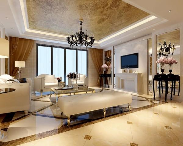 锦城世家123.71㎡简欧风格客厅实景图