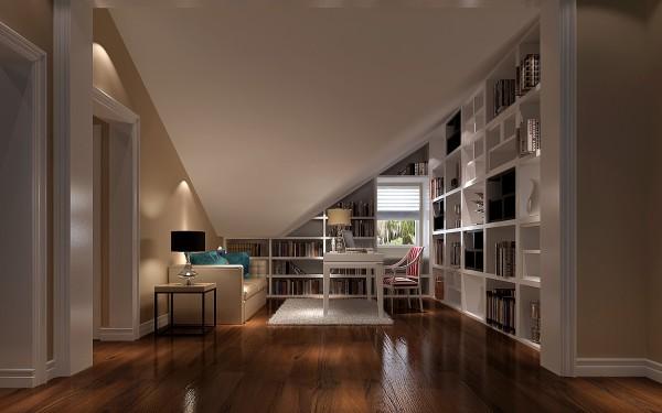 充分利用阁楼的特殊造型,完善书房的布局