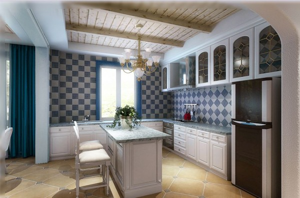 锦城世家116.32㎡简欧风格厨房实景图