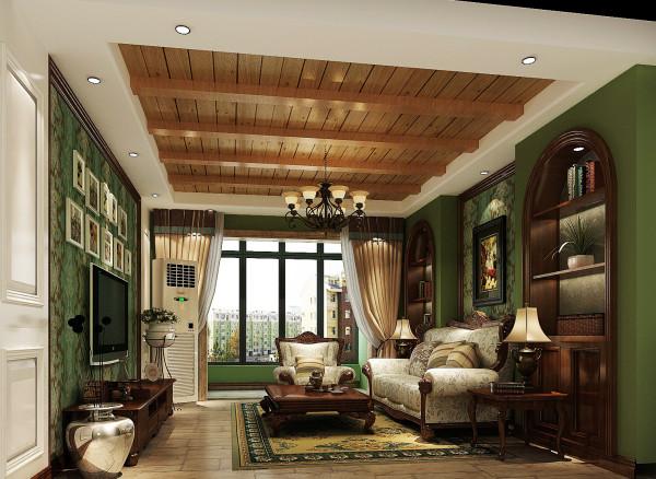 绿色的沙发背景墙与电视背景墙相互呼应,气质清新