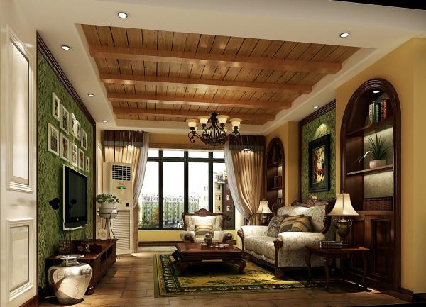 黄色的沙发背景墙与电视背景墙对应,气质温馨