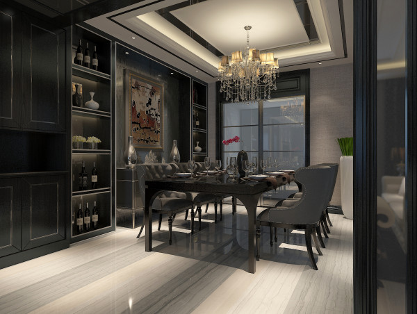 三色地砖铺贴使得空间得到视觉上的延伸。深色酒柜描银的点缀使得整个空间安静而活泼。