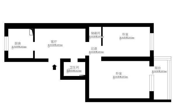 朝阳区华体物业小区60平米原始户型图