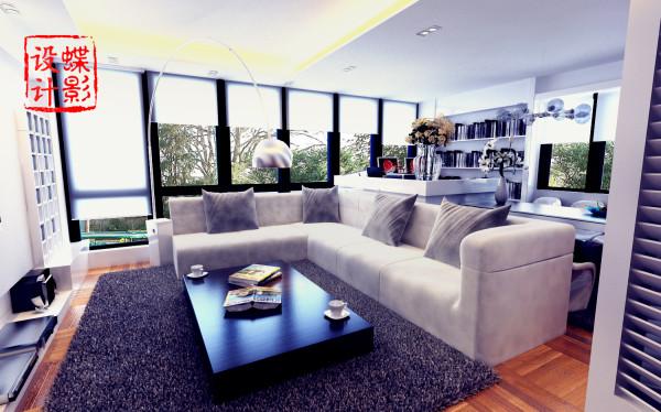 """这套案例本着""""简洁""""""""实用""""的核心思想设计的,整个客厅空间划分成会客区,工作区,备用餐区三个区域,整体颜色运用整洁的白色,空间简洁干净;"""