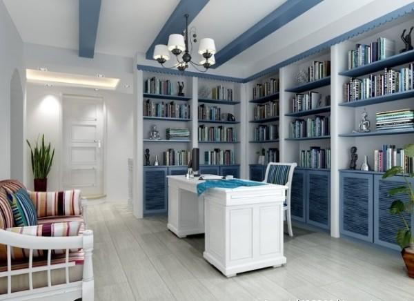 成都实创装饰—整体家装—简约浪漫地中海—书房装修效果图