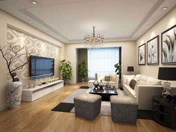 客厅是主人品味的象征,体现了主人品格,地位,也是交友娱乐的场合,电视背景墙采用几何造型,既简单又大方,再加上色彩为印花的壁纸,配上顶部照下来的灯光,整个电视背景墙把客厅提升起来。