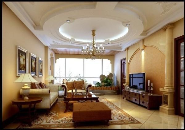 成都实创装饰—唯美的巴洛克风格—客厅装修效果图