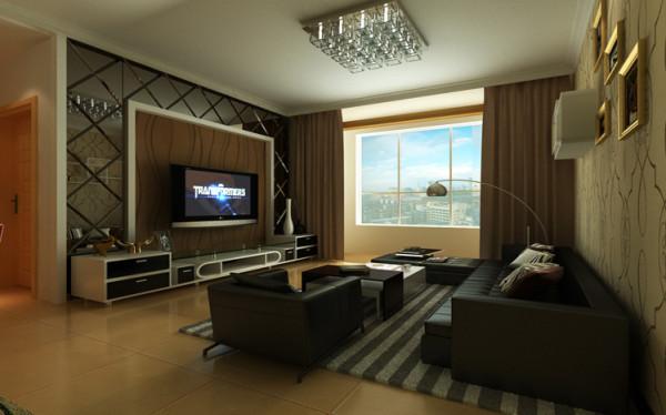 客厅电视墙运用了石膏板做造型,壁纸和水银玻璃衬托,让整个空间有层次感,而且不乱,简洁明快。