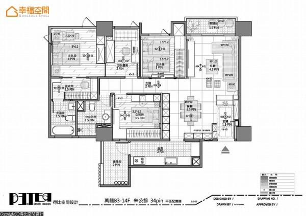 空间格局:玄关、客厅、餐厅、主卧书房、主卧房、男孩房、女孩房、更衣室、卫浴x2