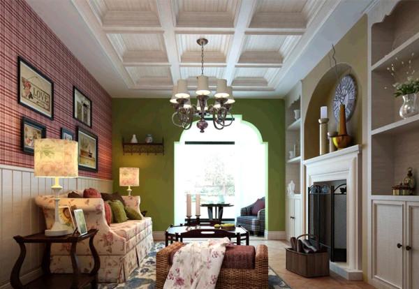 瀚海泰苑欧美风格装修设计-客厅美式效果图