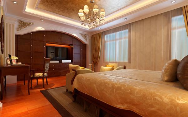 电视柜采用组合定制衣柜,增加了储物空间,又增加了卧室的格调,不显得简单。