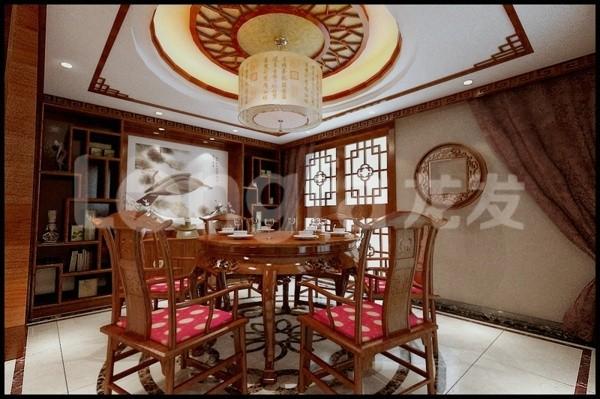 国仕山260平四居室中式风格装修设计案例餐厅装修设计效果图展示