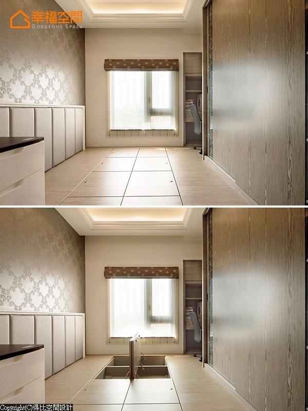 架高木地板的男孩房具有客房、游戏房与收纳储物等多元机能。