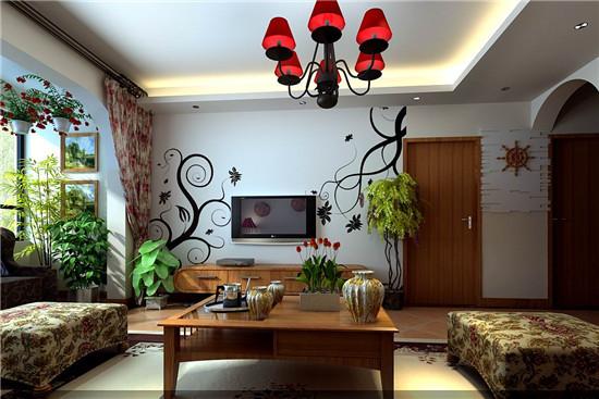 简洁的电视背景墙 配上绿植,田园气息温馨的感觉