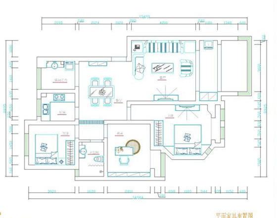 富田兴龙湾-欧美风情-110平米三居室装修设计