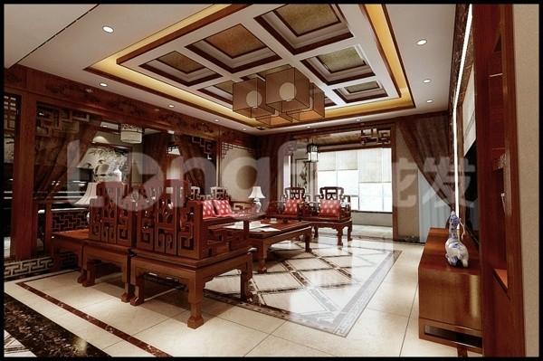 国仕山260平四居室中式风格装修设计案例客厅装修设计效果图展示