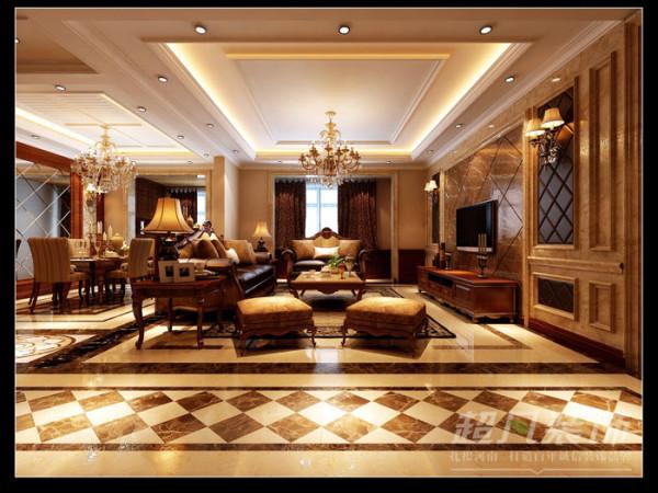 郑州装修设计公司超凡装饰-建业城邦美式风格145平客厅效果图