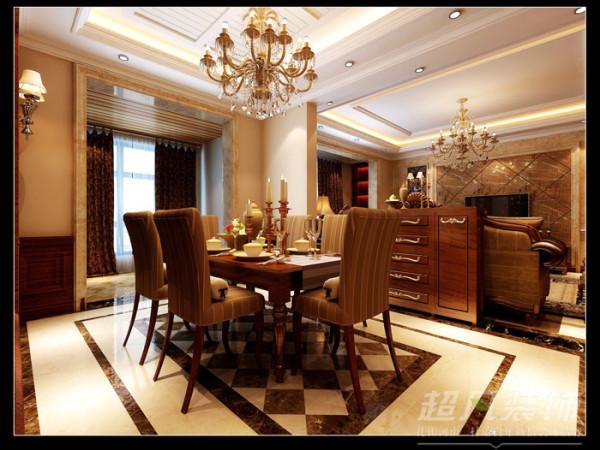 郑州装修设计公司超凡装饰-建业城邦美式风格145平餐厅效果图
