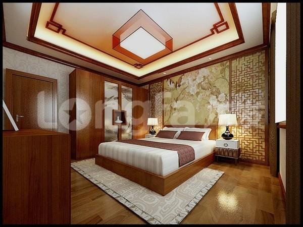 国仕山260平四居室中式风格装修设计案例卧室装修设计效果图展示