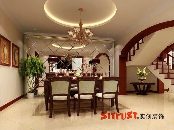 成都实创装饰—整体家装—古典欧式风格—餐厅装修效果图