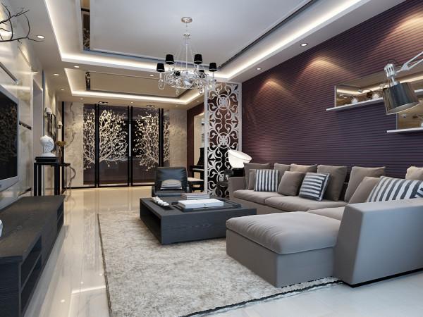 暗紫色的条纹壁纸铺满了整面墙,急需一些提亮的东西来装饰,于是有了镜面和LED灯一起打造的嵌入式壁橱,配合顶照的弧形灯光,璀璨别致。