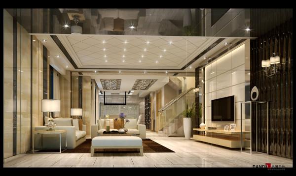 名雕丹迪设计-红树西岸别墅-现代客厅:云石的背景墙、咖啡色的沙发和壁纸、深色的台灯、浅黄色的地砖等高雅暖色元素的使用,增添了空间的温情指数,更使空间拥有了一丝神秘感