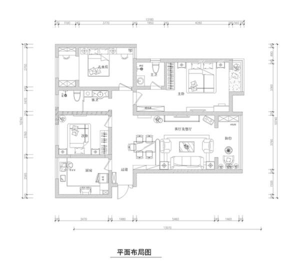 正商新蓝钻三居室简约欧式装修效果图【户型设计图】