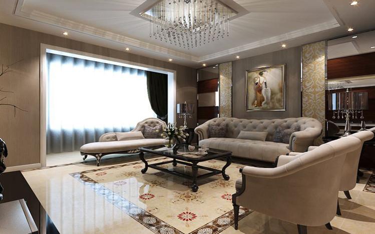 简欧风格客厅,软包餐厅背景墙配上茶色镜面,拉丝不锈钢条收口,简单图片
