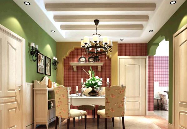 瀚海泰苑欧美风格装修设计-美式餐厅效果图