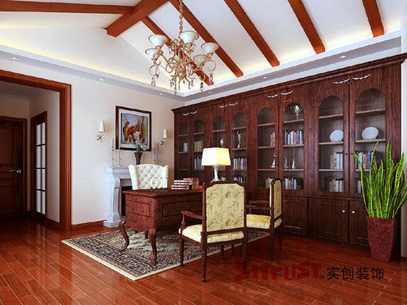 成都实创装饰—整体家装—古典欧式风格—书房装修效果图