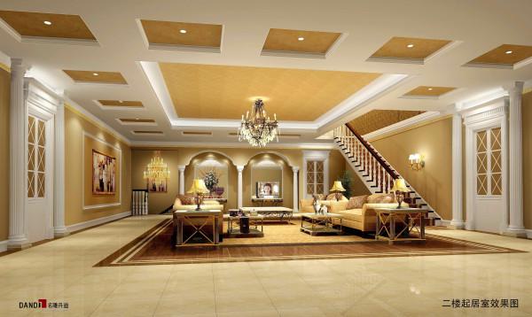 名雕丹迪—曦城豪华别墅装修—简欧风格-二楼起居室
