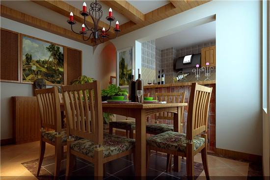 餐桌与吊顶浑然一体,配上红色的餐吊灯,生活是多麽悠闲