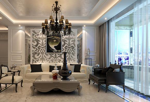 瀚海泰苑131平后现代装修风格效果图-后现代电视背景墙,精细造型,浅色色调搭配,静显主人不凡的品质