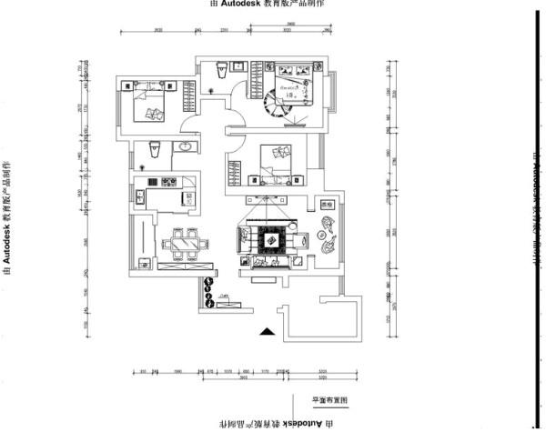 瀚海泰苑130平中式风格装修设计户型图
