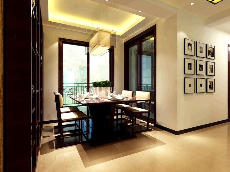瀚海泰苑130平中式风格装修设计效果图-餐厅效果图,单面墙上装饰一面图片